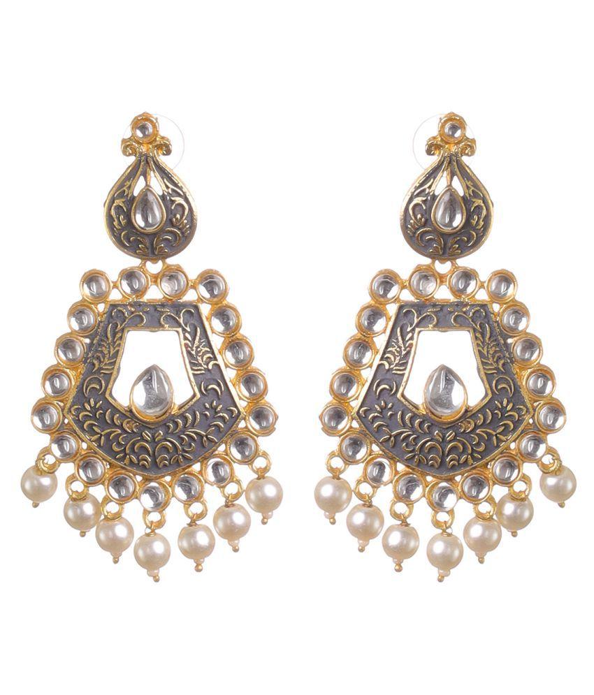 BLOSSOM CHERRY Women's and Girls Trible Earring  Clip-On Minakari Kundan Metal and pearl Gold Grey Designer fashion