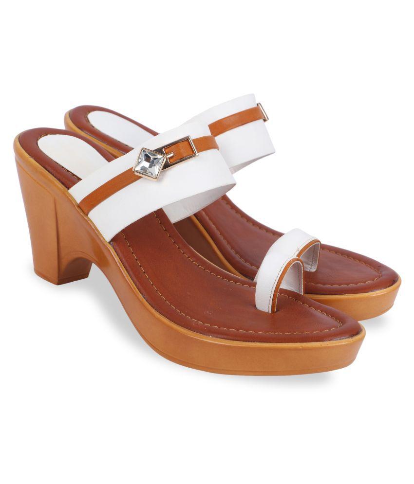 Mohini Steps White Block Heels