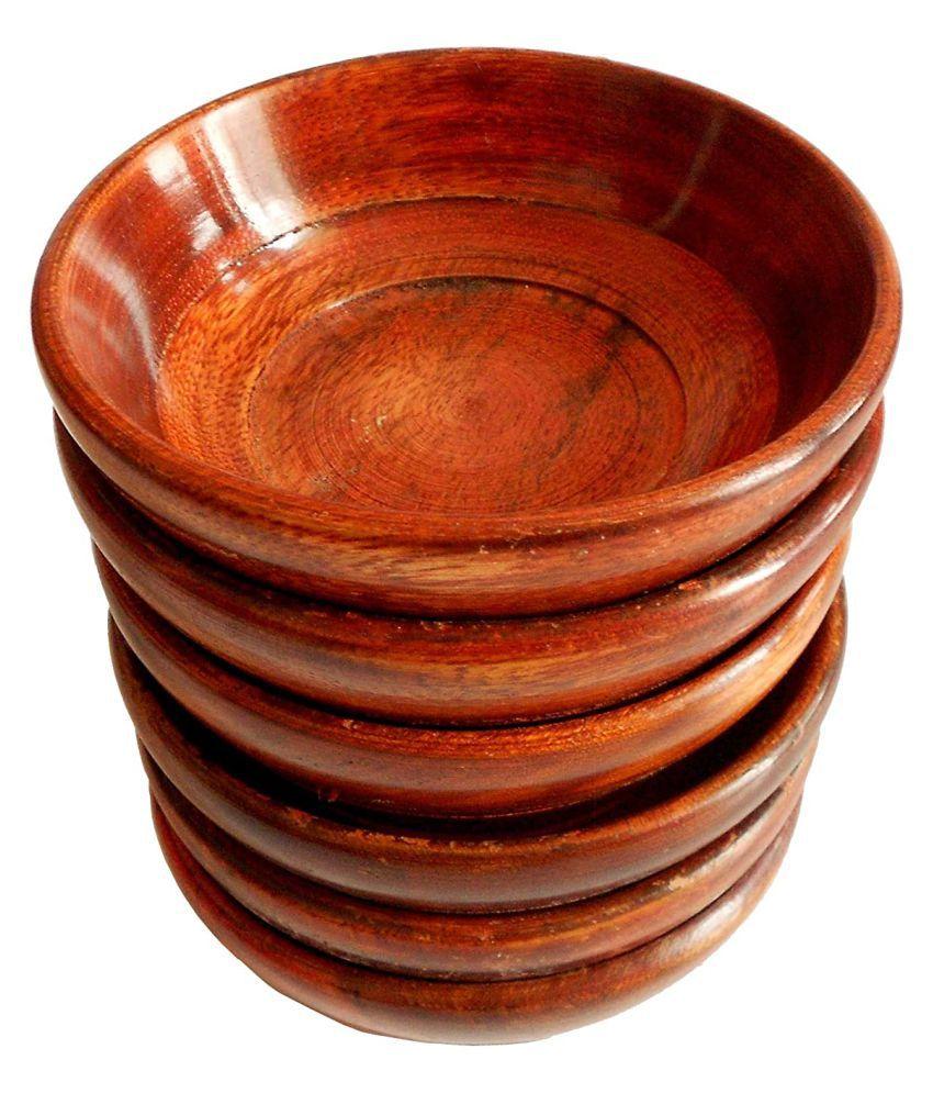 Generic 6 Pcs Wooden Soup Bowl 200 mL