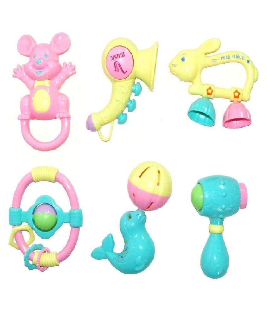 iSOBAR Lovely Attractive Colorful Toddlers 6 Rattle Toys Set for Babies
