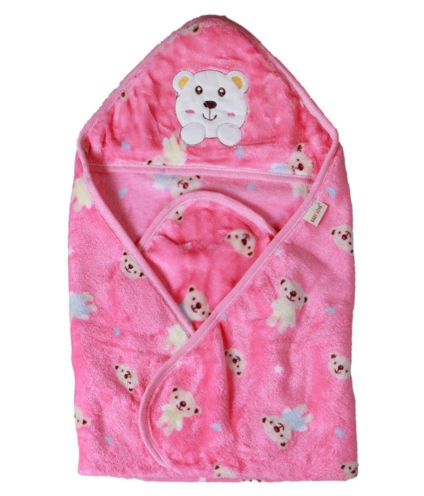 dorokids Pink Fleece Baby Wrap cum blanket ( 30 cm × 30 cm - 1 pcs)