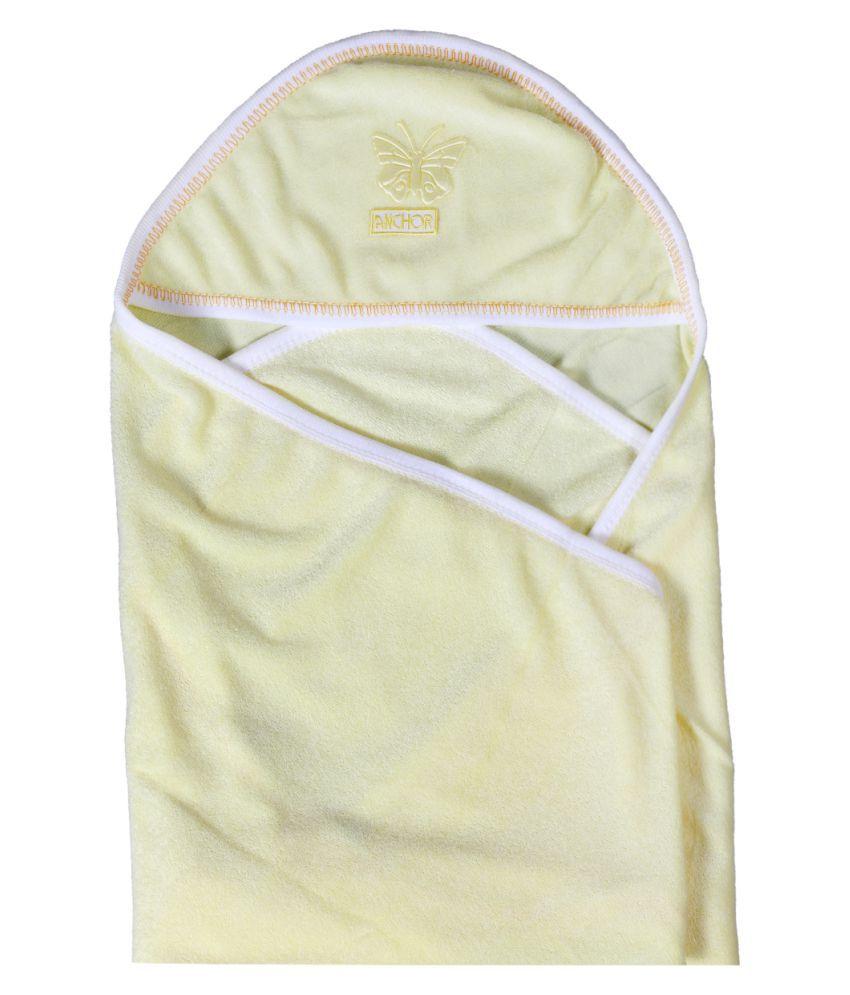 dorokids Yellow Fleece Baby Wrap cum blanket ( 30 cm × 30 cm - 1 pcs)