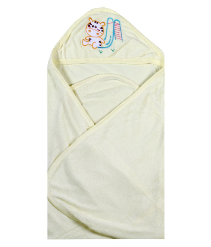 dorokids Yellow Fleece Baby Wrap cum blanket ( 30 cm × 30 cm - 1 pcs)