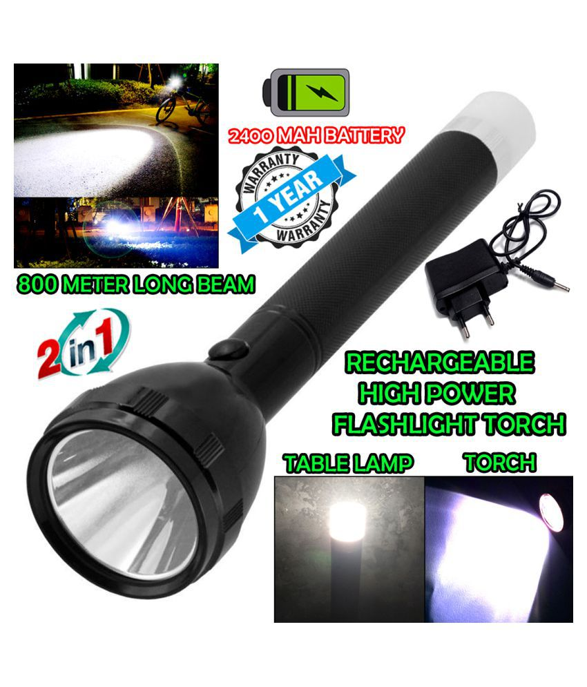 DGM 2in1 800 Meter Long Beam Waterproof Chargeable LED 3 Mode Table Lamp 2W Flashlight Torch Home / Outdoor Lamp - Pack of 1
