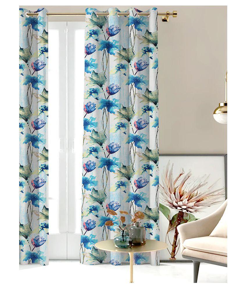 SHIVANAA HOMES Single Long Door Blackout Room Darkening Eyelet Polyester Curtains Blue