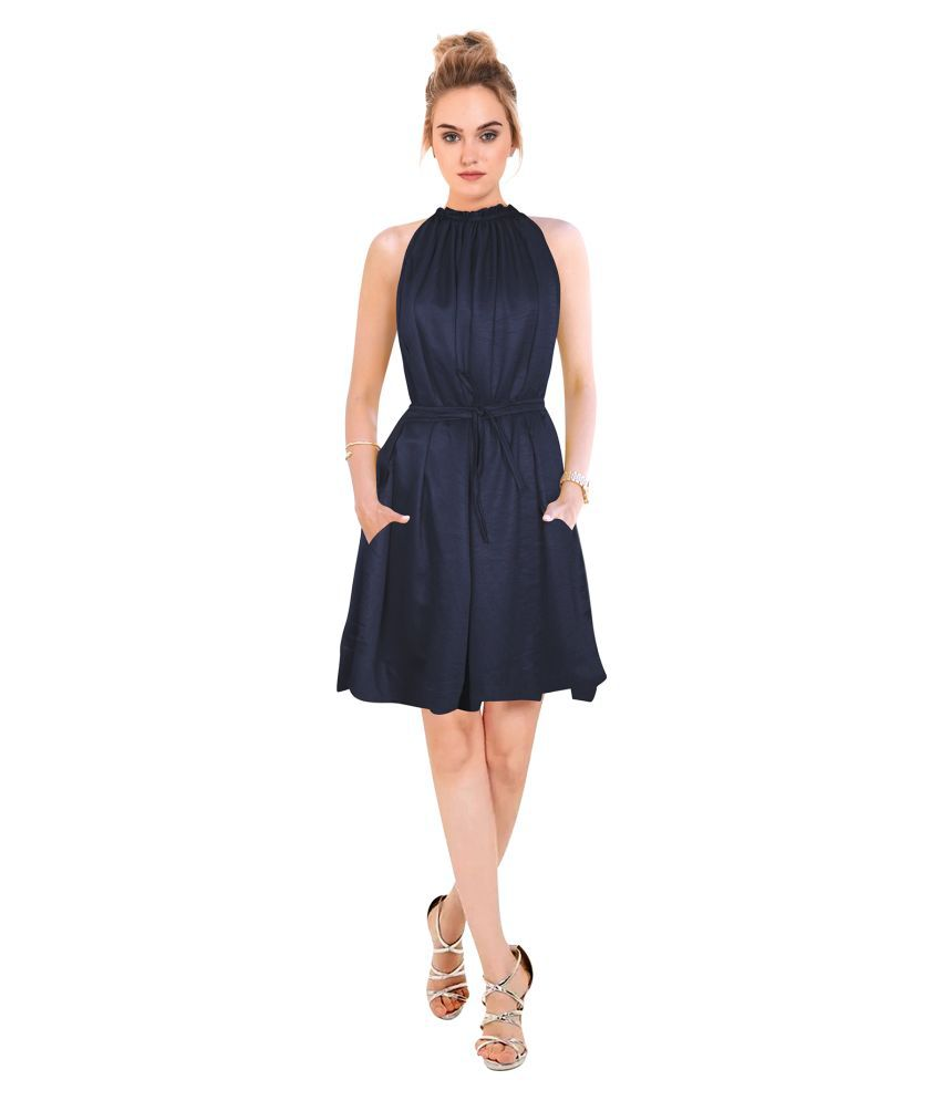 SK Creation Crepe Blue Skater Dress