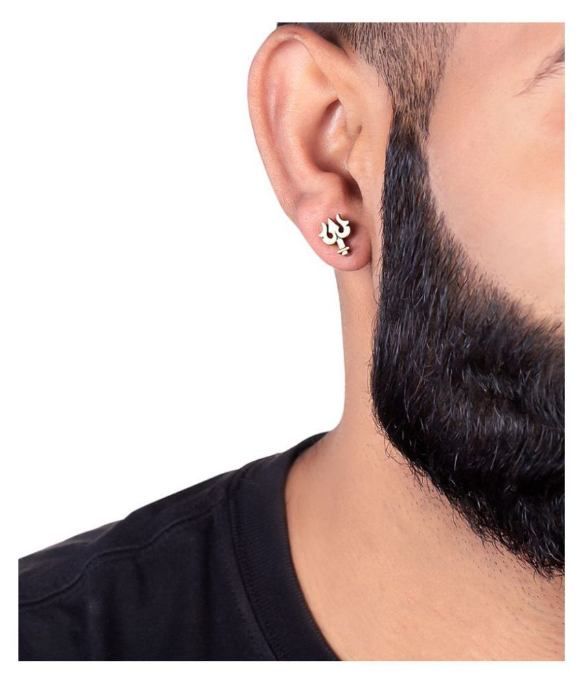 Religious OM and Lord Shiva trishul earring,OM long earrings,trishul ear studs,tribal ear studs,silver oxidised ear studs,long tribal earing