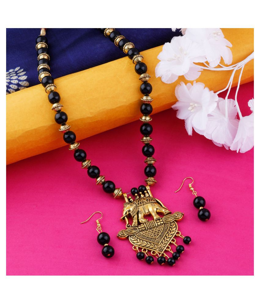 N M CREATION Alloy Black Contemporary Traditional Gold Plated Necklaces Set