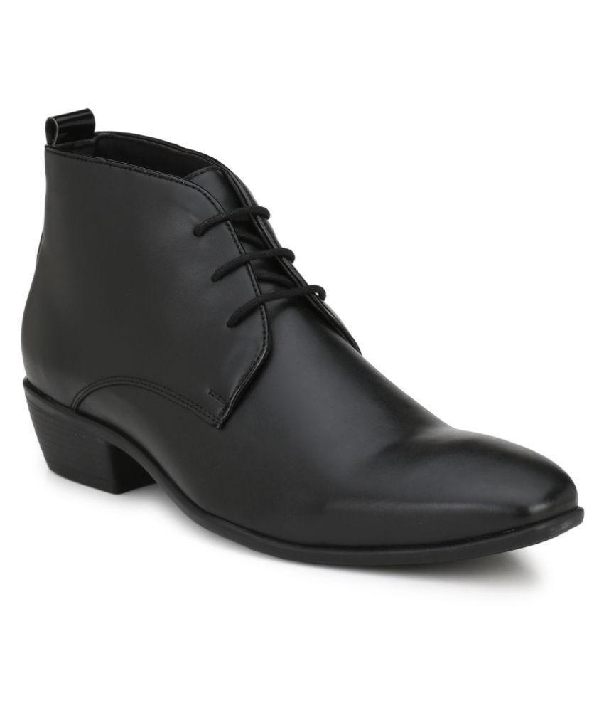 Delize Derby Artificial Leather Black Formal Shoes