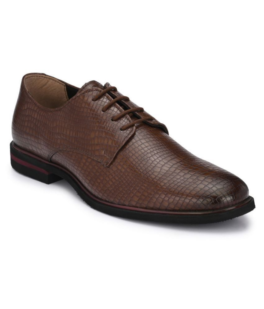 Delize Derby Artificial Leather Brown Formal Shoes