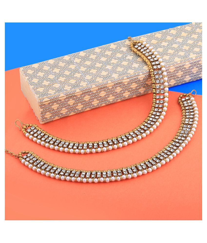 Traditional Golden White Diamond And Pearl Anklet For Women And Girl.