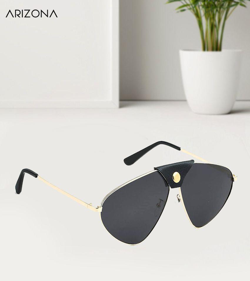 Arizona Sunglasses - Black Plastic (Polycarbonate) lens Golden frame Designer Sunglass for men and women