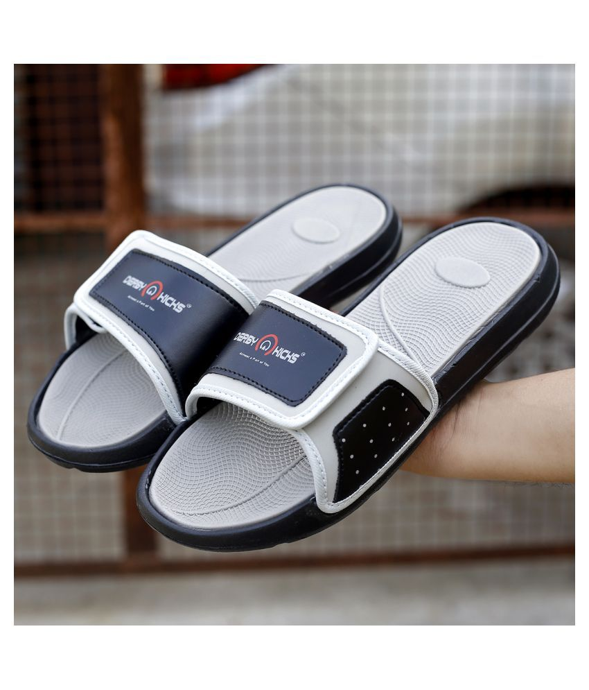 DERBY KICKS Gray Slide Flip flop