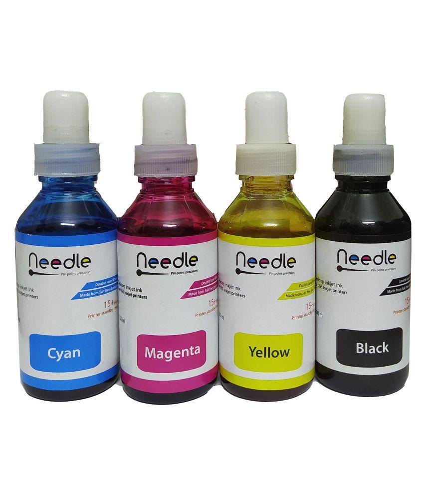 Needle Refill ink kit Multicolor Pack of 4 Ink bottle for Dye ink use for Epson refilling Inkjet printer