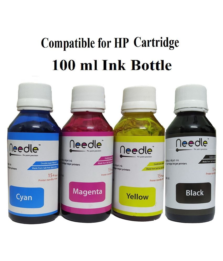 REFILL INK HP Cartridge 100ml Multicolor Pack of 4 Ink bottle for Compatible Cartridge 21, 22, 27, 671, 678, 680, 685, 703, 704, 802, 803, 818, 862, 9