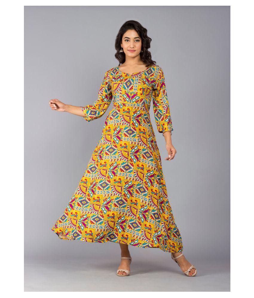 Urbanera Rayon Yellow A- line Dress