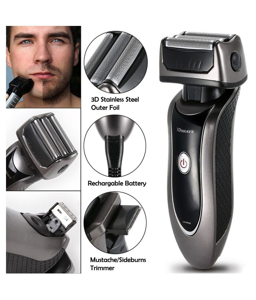Men's 2in1 Rechargeable Beard Foil Shaver Triple Blade With Pop Up Hair Clipper Casual Gift Set