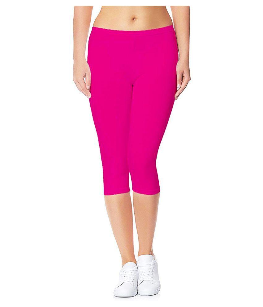 shri hub Pink Cotton Solid Capri