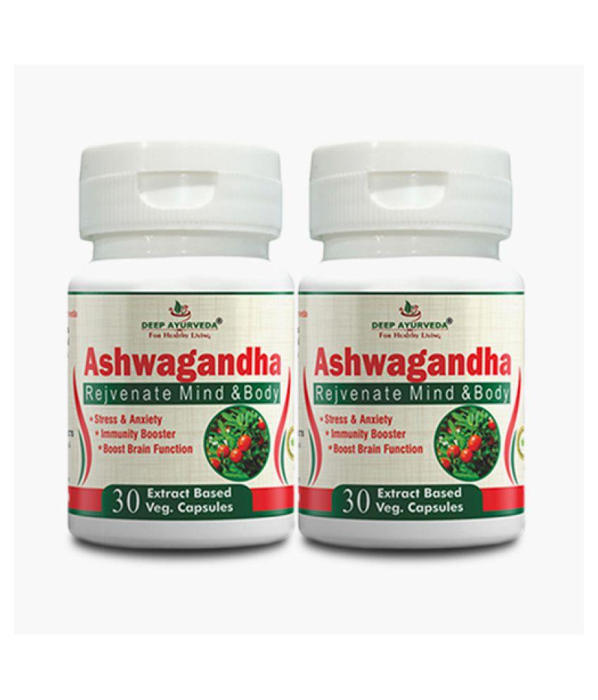 DEEP AYURVEDA- INDIA Ashwagandha -A Herbal Supplement Capsule 1000 mg Pack Of 2