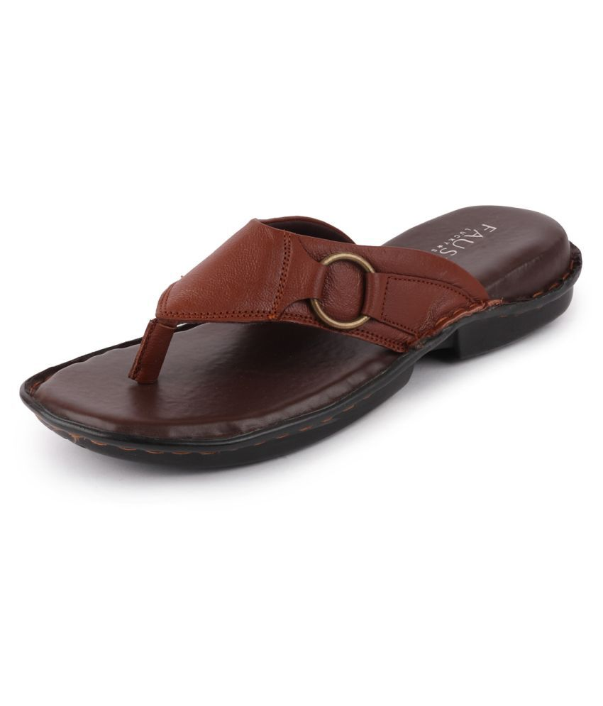 Fausto Tan Leather Slippers