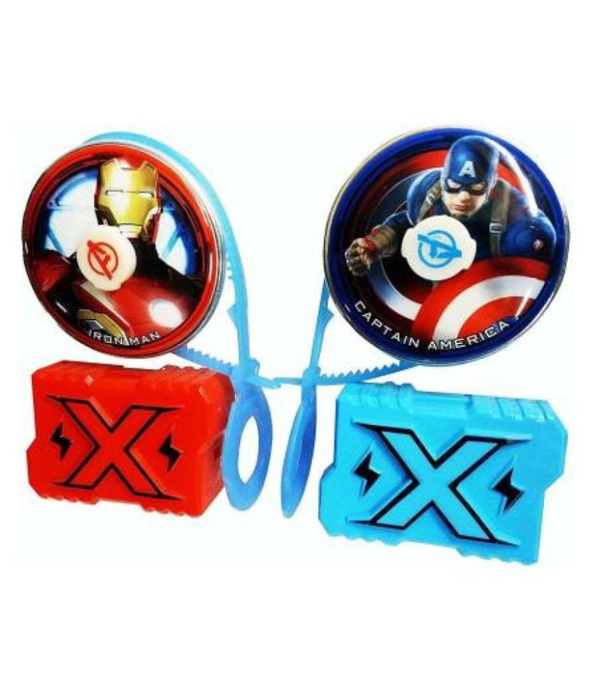 AMG Super Hero Masters Fury Spinning Beyblade Avengers Theme Kids Toy Set of 2 (Multi Color)