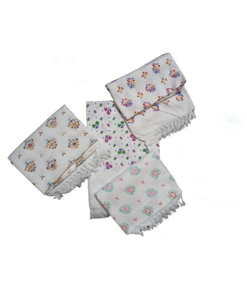 VIRUTSHAM Set of 4 Cotton Bath & Face Towel Set White