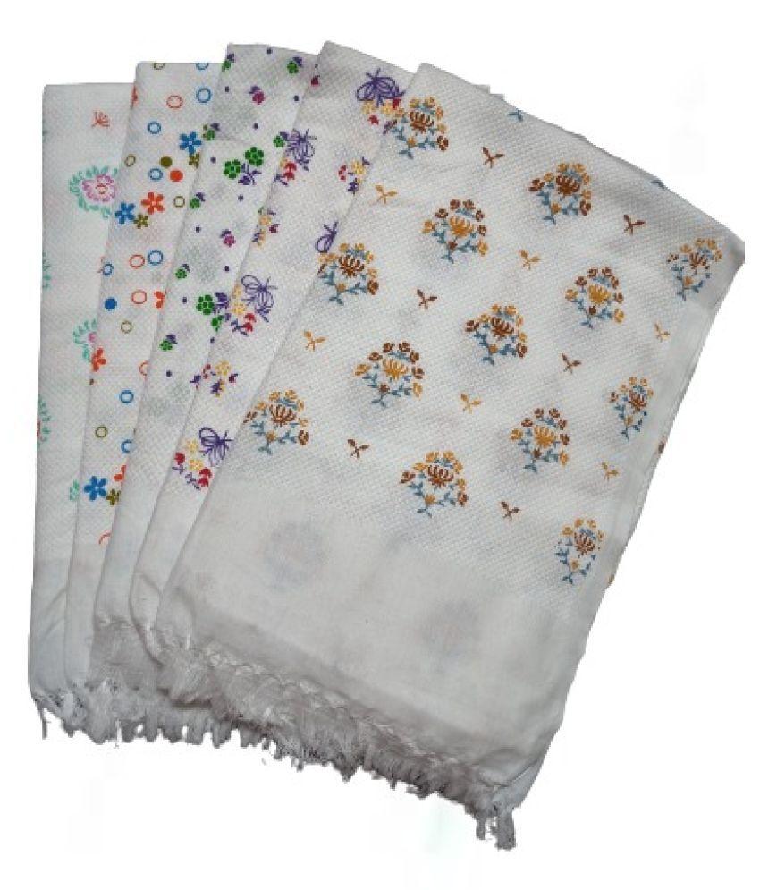 VIRUTSHAM Set of 5 Cotton Bath & Face Towel Set White