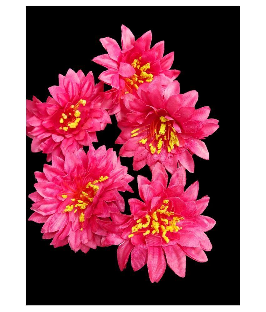 6pcs Pink Color Artificial Flowers for Diwali & Room Decoration