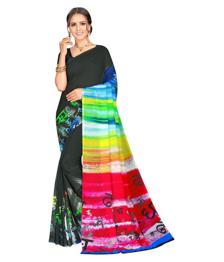 Moti Textile Black Georgette Saree