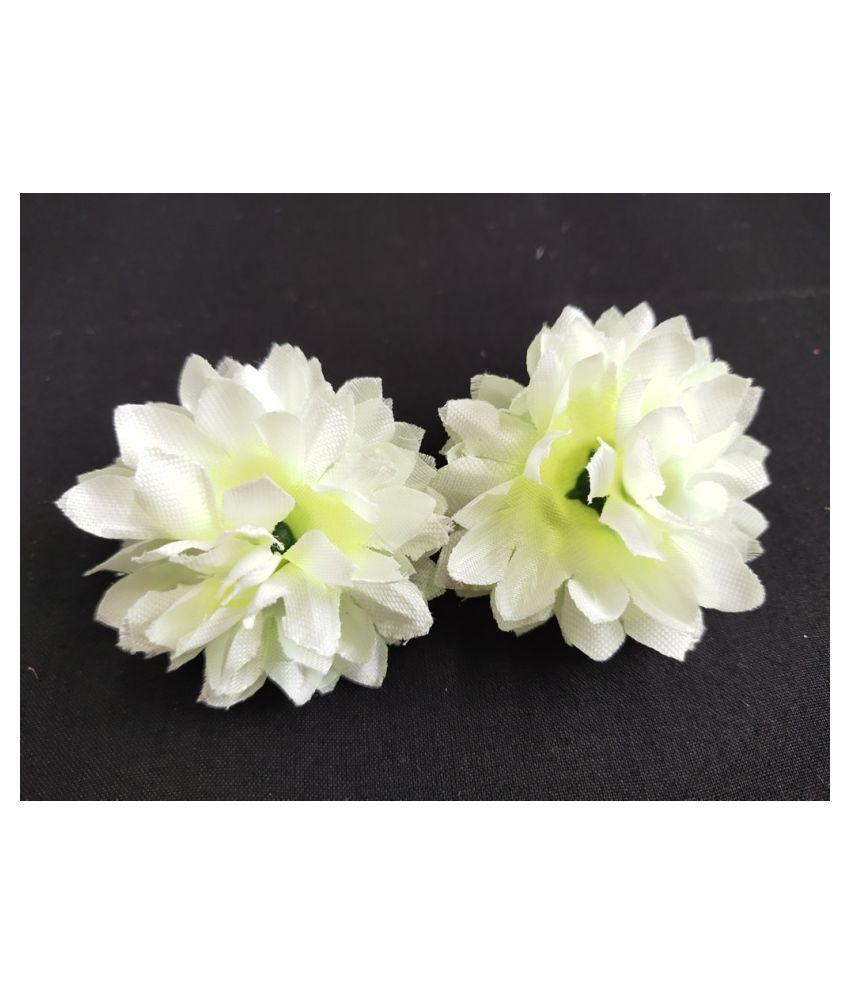 12pcs Off White Color Artificial Flowers for Diwali & Room Decoration