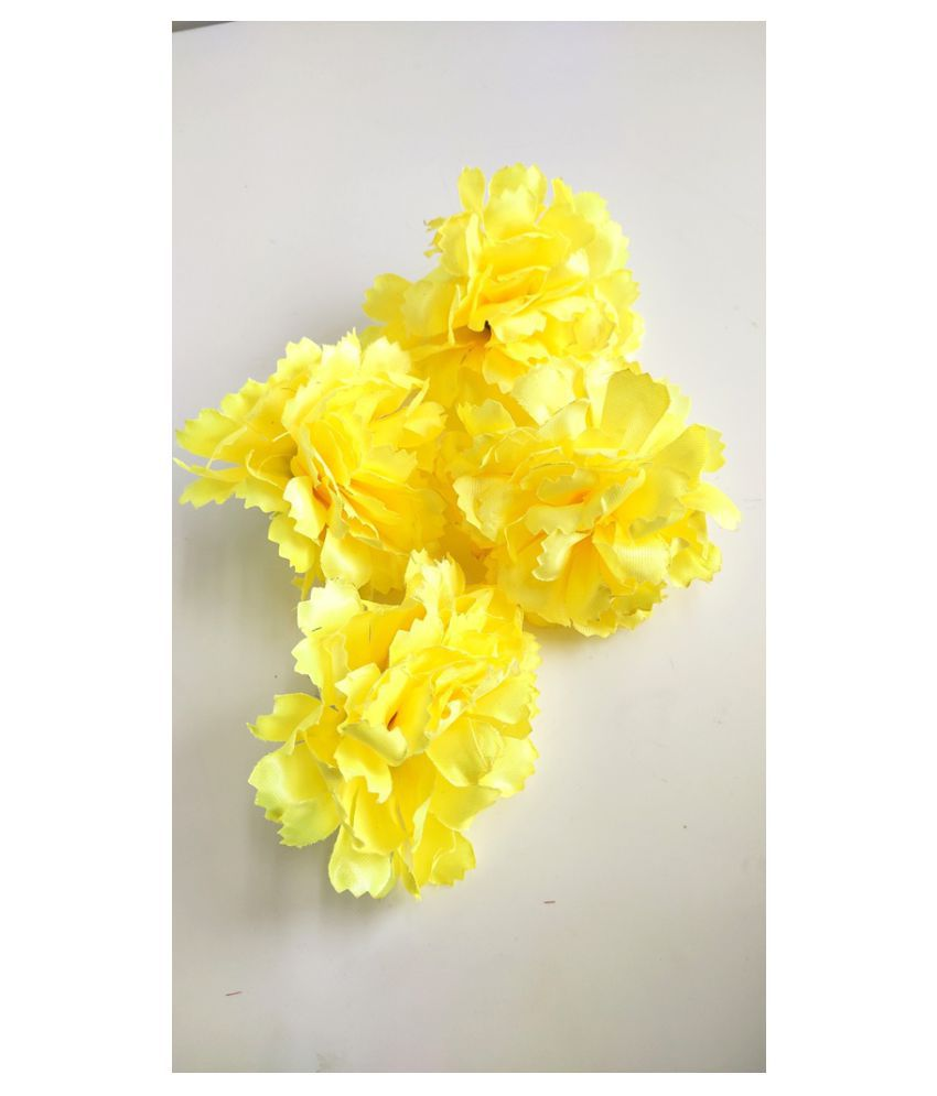 5pcs Yellow Color Artificial Flowers for Diwali & Room Decoration