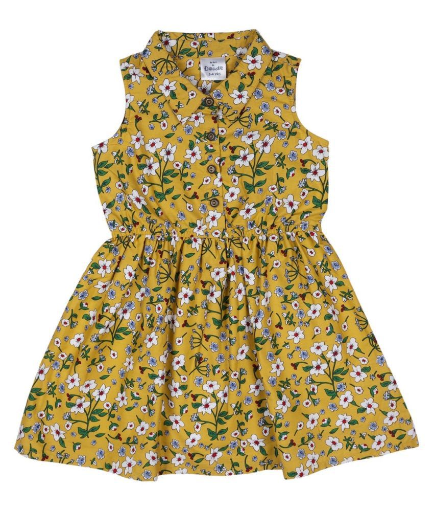 Doodle Mustard Colored Sleeveless Dress for Girls