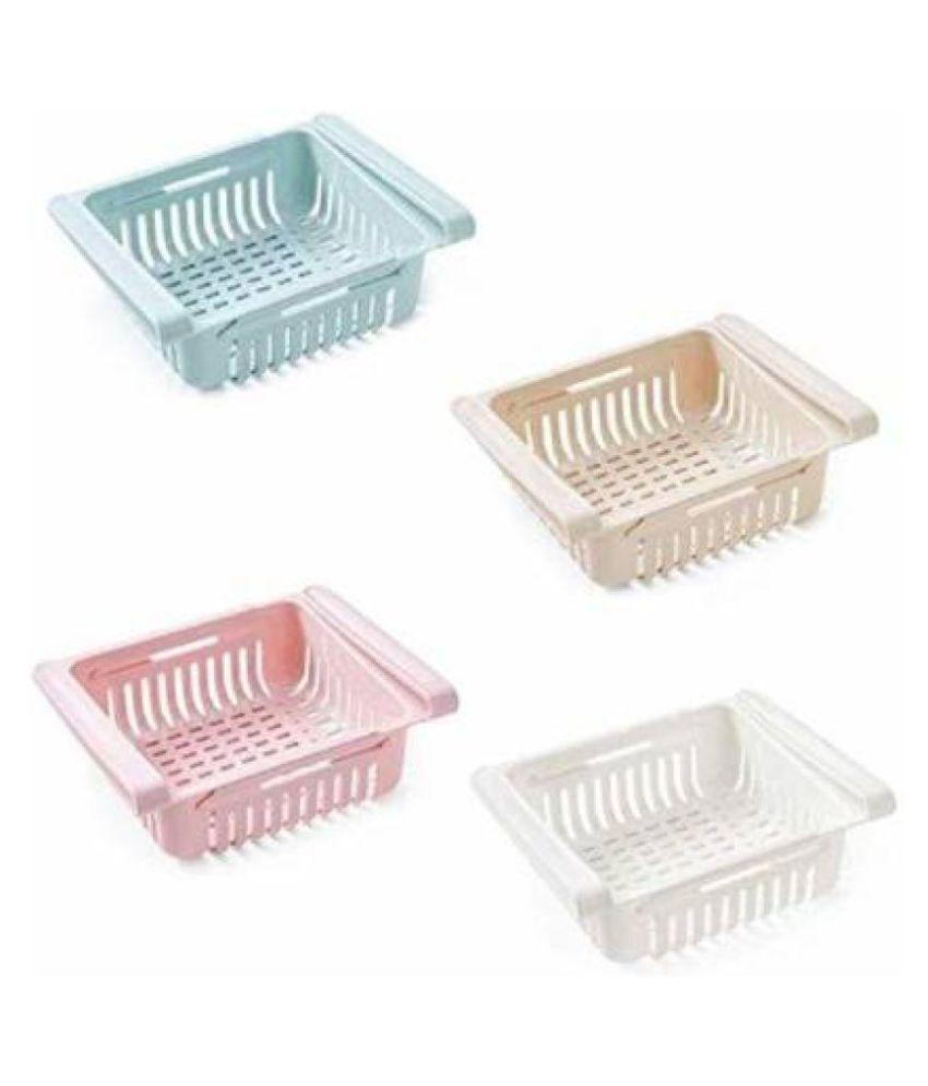 Fridge Organizer Drawer - 4 pcs Adjustable Fridge Storage Basket, Fridge Racks Tray Sliding Storage Racks Fruits/Vegetables Kitchen Rack Utensil Kitchen Rack  (Plastic)