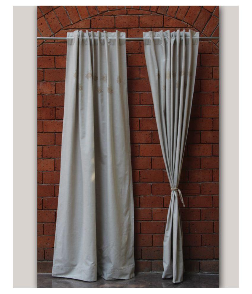 Zeba Single Door Loop Cotton Curtains Beige