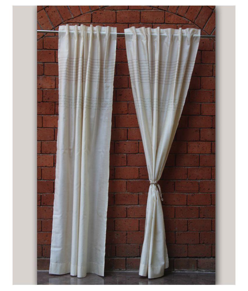 Zeba Single Door Loop Polyester Curtains Off White