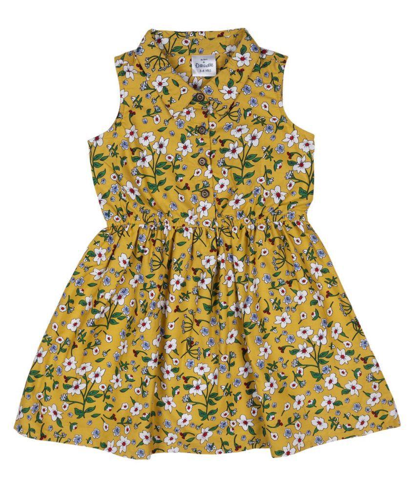 Doodle Mustard Color Sleeveless Dress for Girls