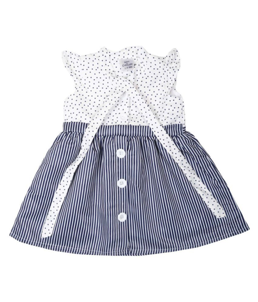 Doodle Navy Color Cap Sleeve Dress for Girls