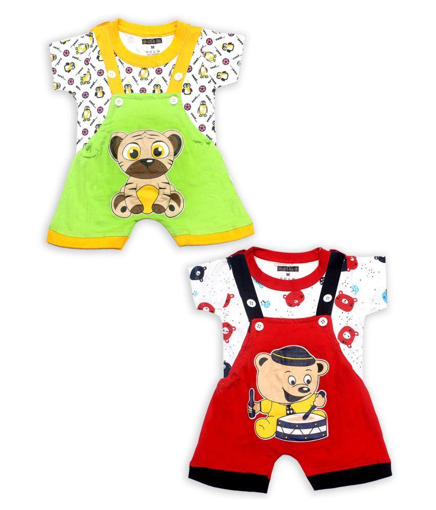 SHOPOLINE Cotton Dungaree For Boys & Girls Kids Apparel  pack of 2