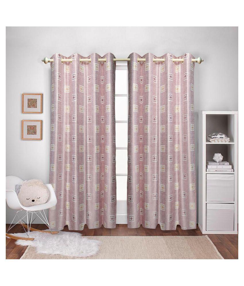 gold decor Single Door Semi-Transparent Eyelet Polyester Curtains Light Pink