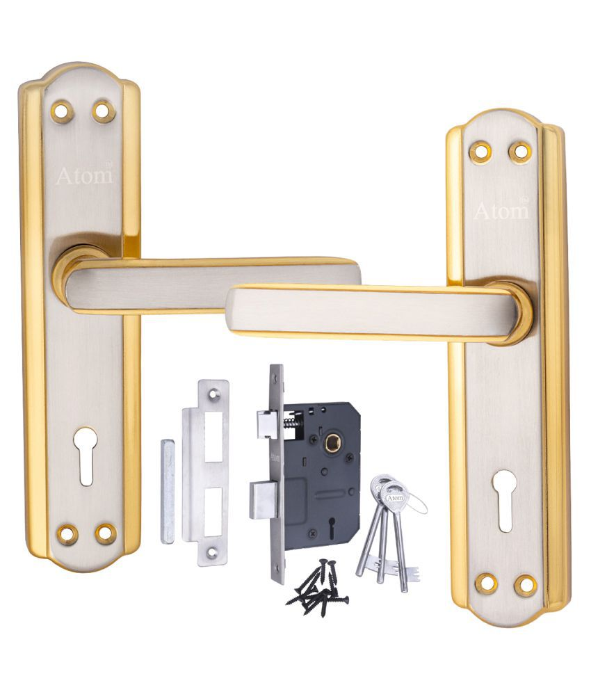 Atom Mortise Door Lock 606 K.Y. 7 Inch Mortice Handle Pair in Silver Gold Finish with Legend 65 mm Brass Dead Bolt Double Action 6 Lever Lock.