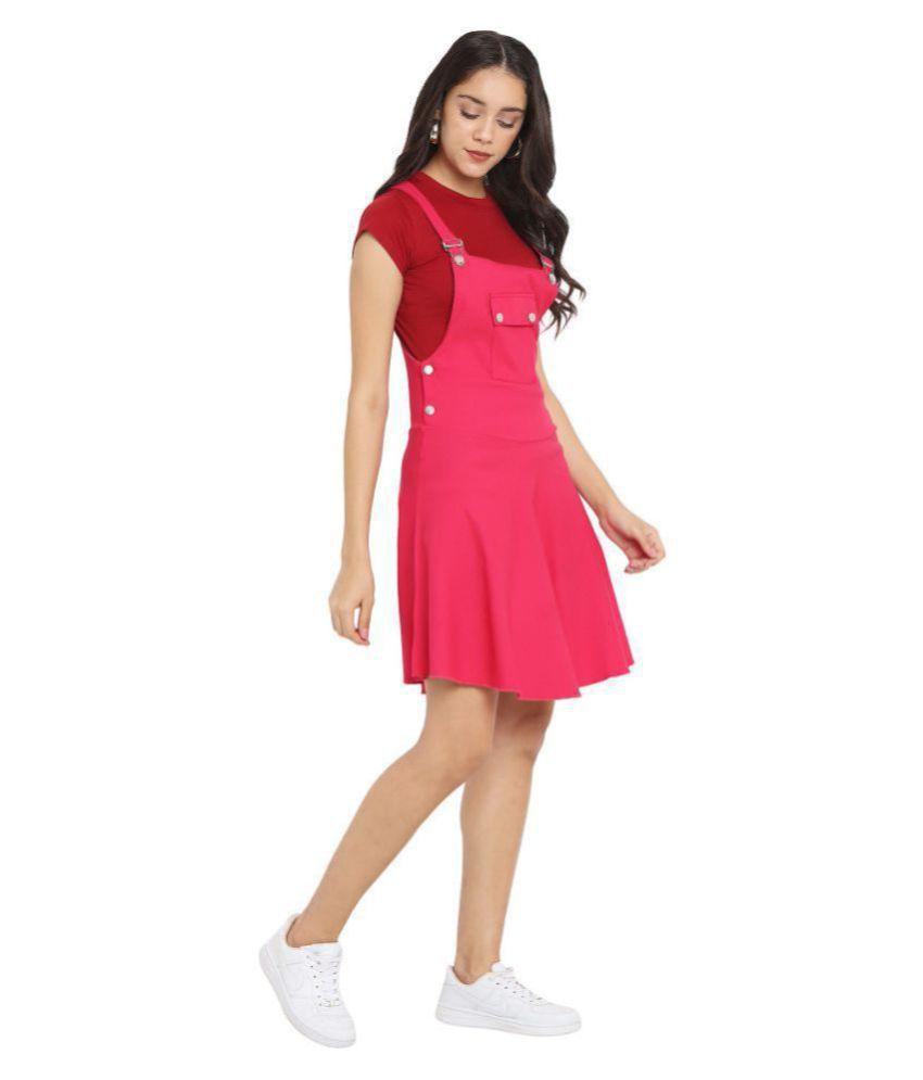 Indy Made Cotton Lycra Pink Dungaress/Pinafore