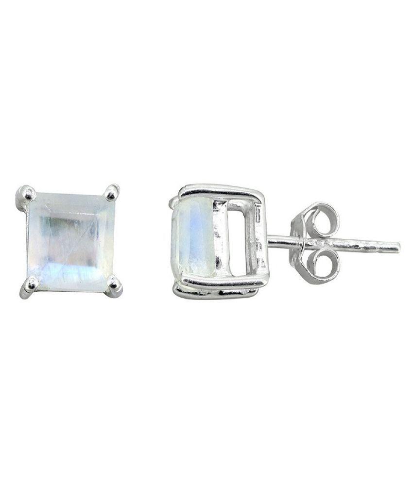KUNDLI GEMS-moonstone stud Earrings Original & Effective Sterling Silver  Earrings For Women & Girls