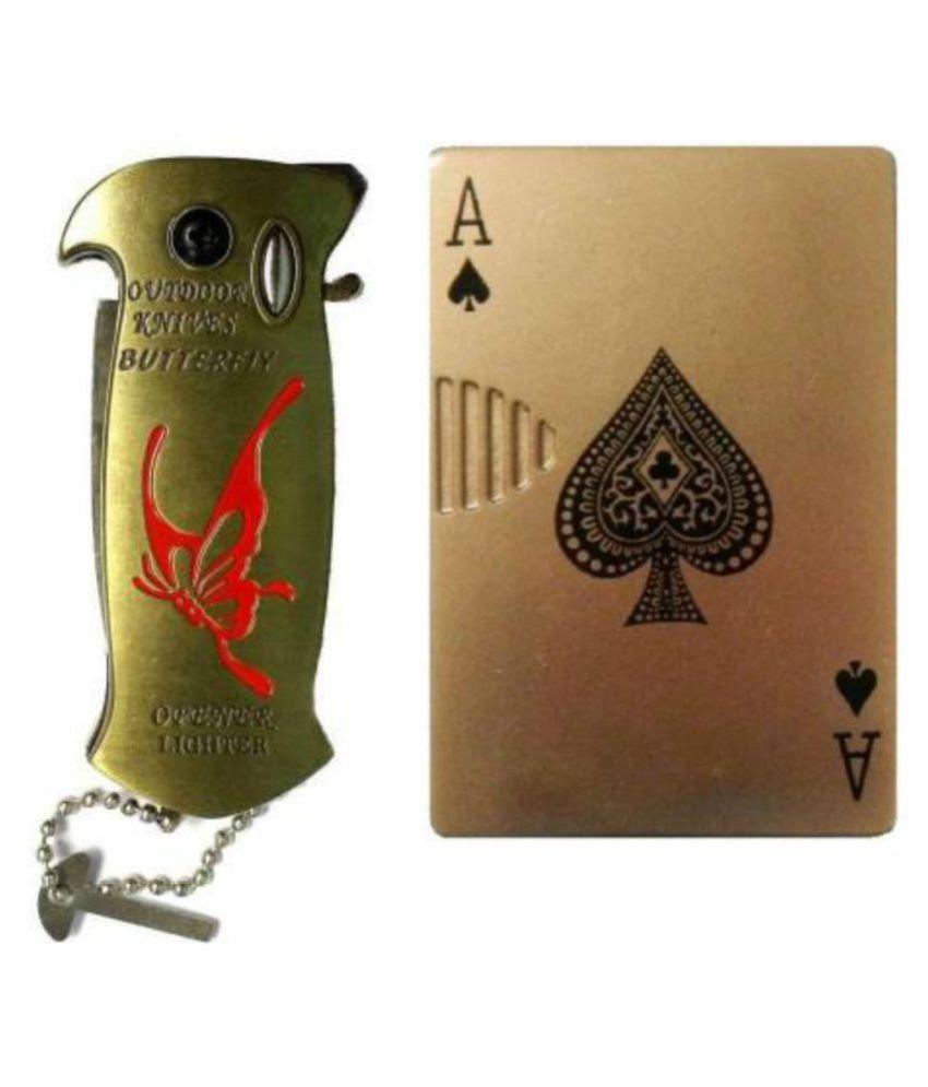 Knife lighter and CARD lighter Cigarette Lighter JET FLAME Pocket Lighter PACK OF 2 Pocket Lighter