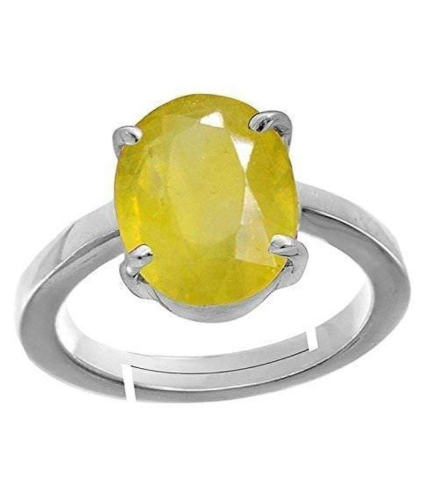 Yellow Sapphire Gemstone Pukhraj Ring for Women's and Men's Unheated Untreated