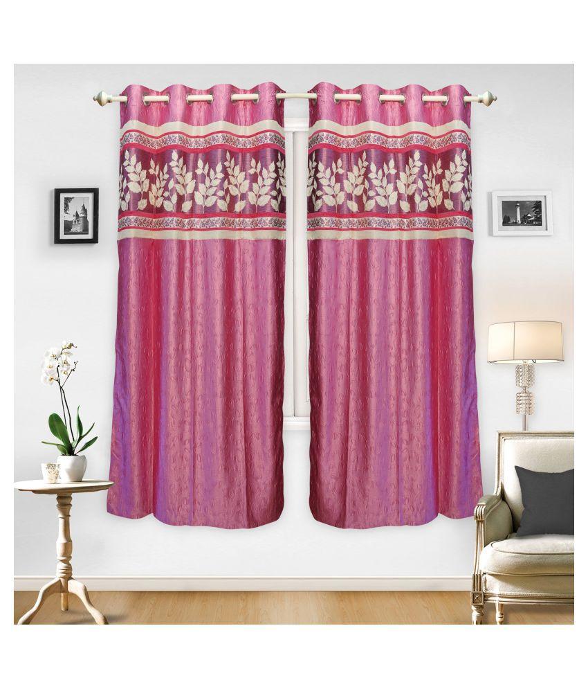 gold decor Single Door Semi-Transparent Eyelet Polyester Curtains Pink