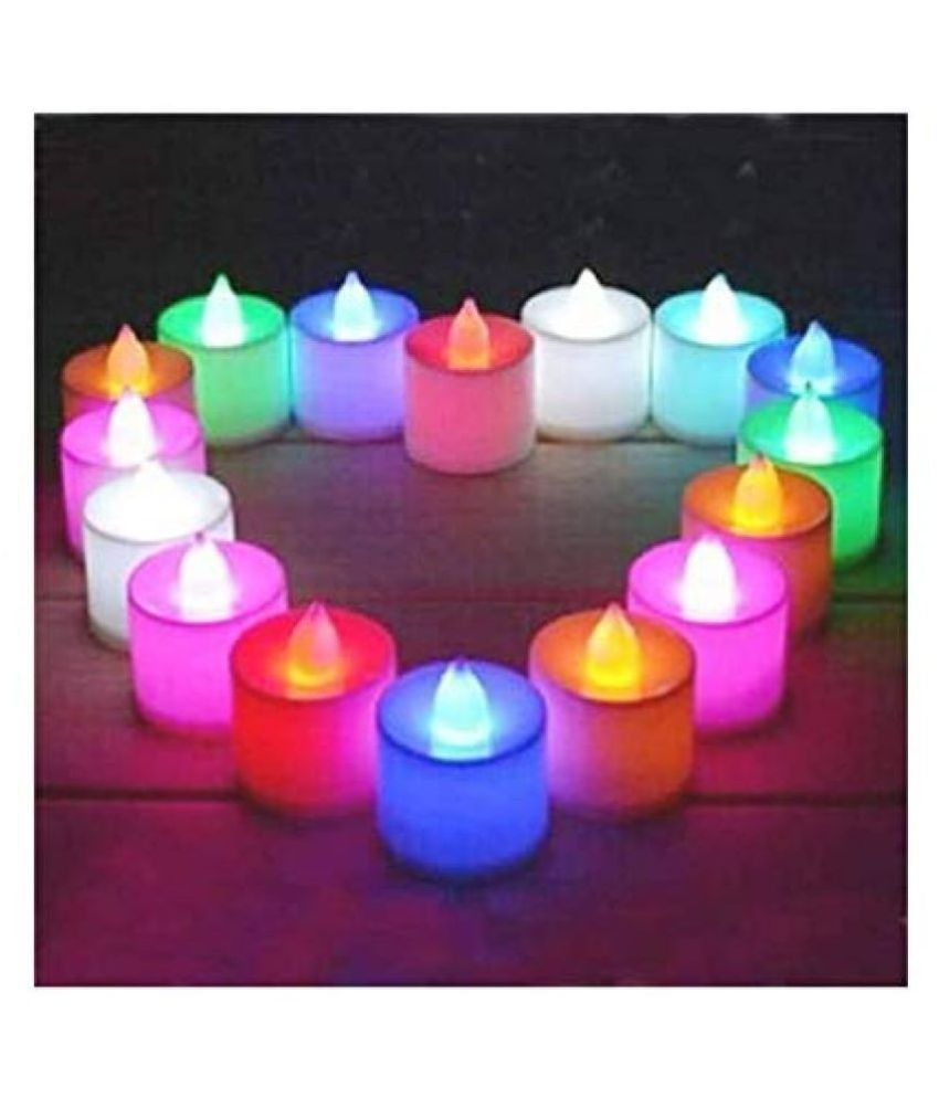AMG Color Changing LED Tea Light Candle, Smokeless Multi Color led, Flameless, Battery Operated Led Multi COLOUR Tea Light Candles Diya for Diwali Gift, Multicolor Flickering LED Tealights LED 20 PCS