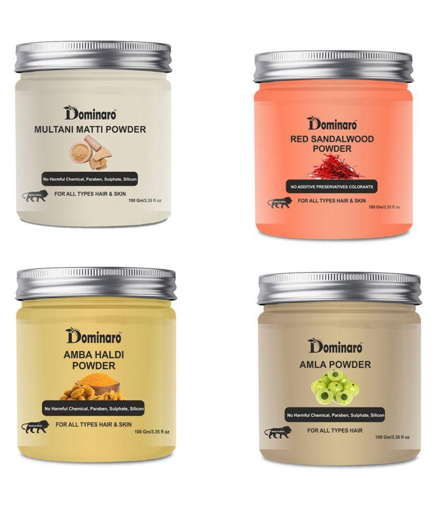 Dominaro 100% Pure Multai&RED sandal& Amba Haldi& Amla powder Face Pack 400 gm Pack of 4