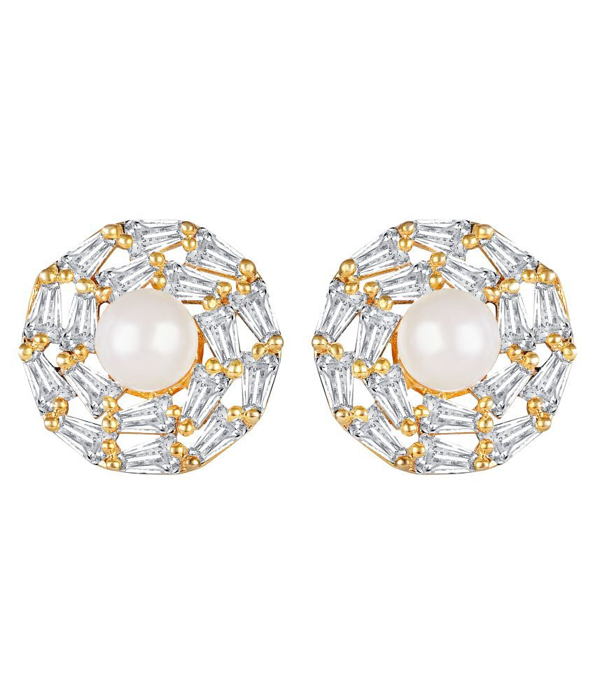 Lifestyle Pleasing Round Shape Brass Gold Plated AD Stud Earring For Women