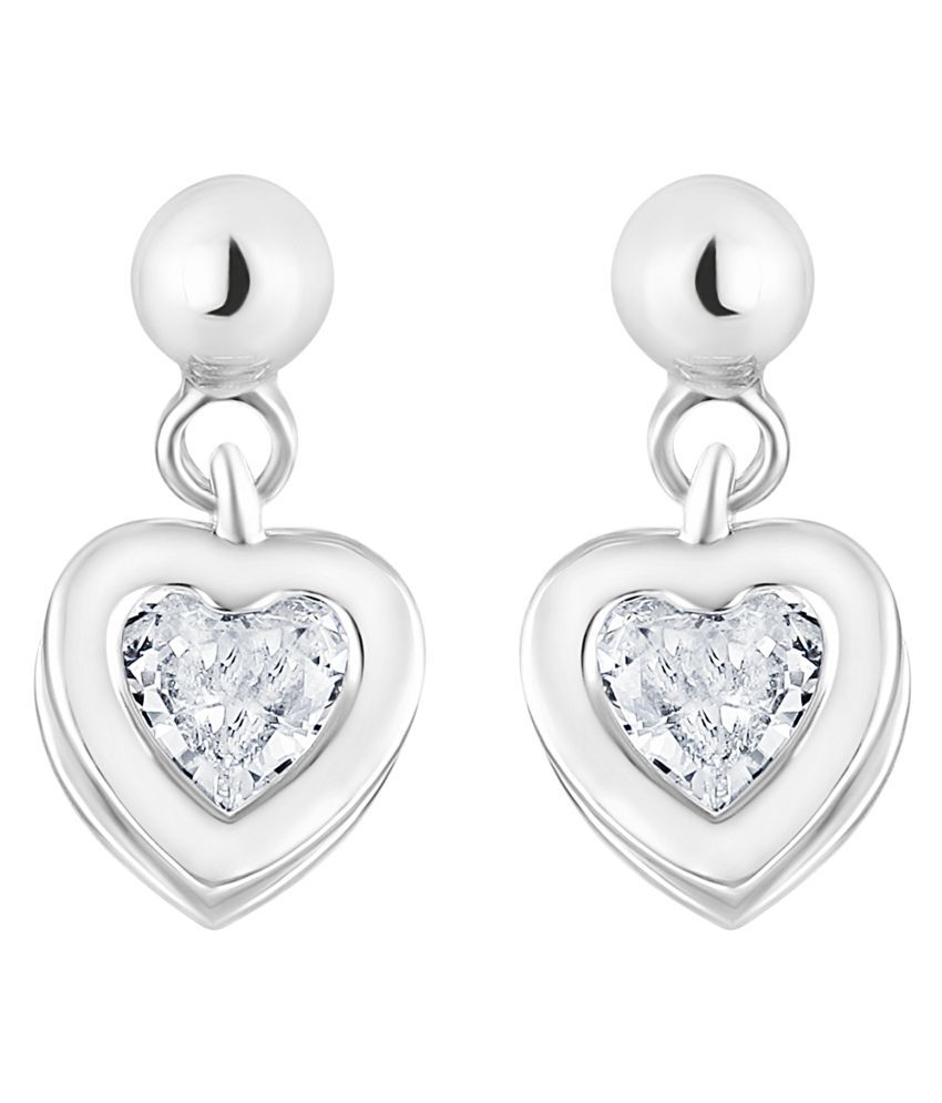 Lifestyle Smooth Heart Shape Brass Silver Plated AD Drop Earring For Women