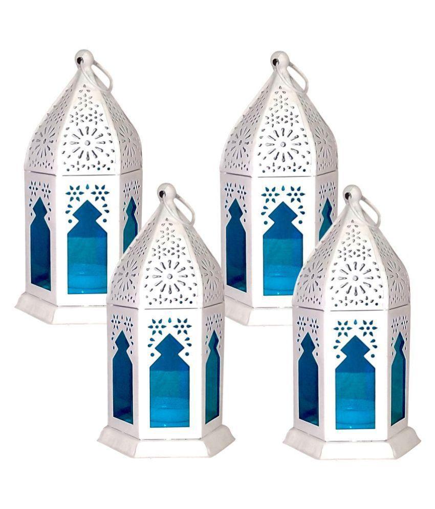 designer international WHITE WITH GREEN LANTERN Hanging Lanterns 17 - Pack of 4